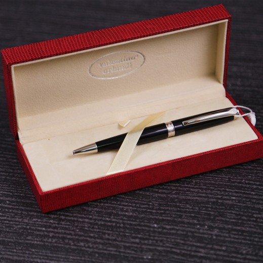 Valentino Orlandi Black & Silver Pen - delivered by My Fair Lady Within 2 Working days