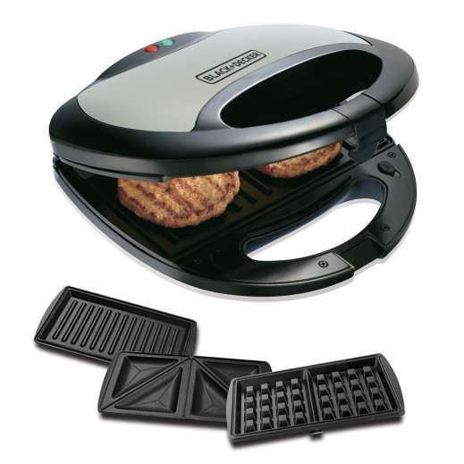 Black & Decker 3 in 1 Sandwich, Grill and Waffle Maker 750W - Black -TS2090