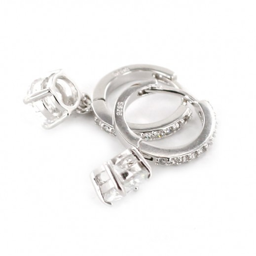 Yemma Pure 925 Sterling Silver Zirconia Luxury Earrings - M01436