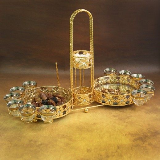 Coffee and Flask Holder Set Golden with 12 Cawa Cups