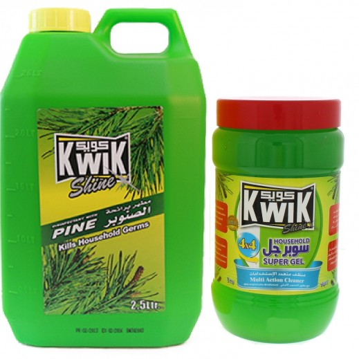 Kwik Disinfectant Pine 2.5 L + Kwik Super Gel Multi Action Cleaner 1 kg