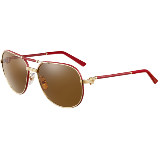 Cartier Santos Ruthenium Aviator Red Leather Ladies Sunglasses - delivered by Waleed Optics