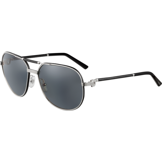 Cartier Must De Cartier Black Leather Men Sunglasses - delivered by Waleed Optics