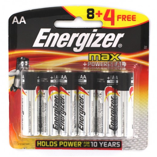 Energizer AA Alkaline Batteries 8+4 Free Pack (1.5V)