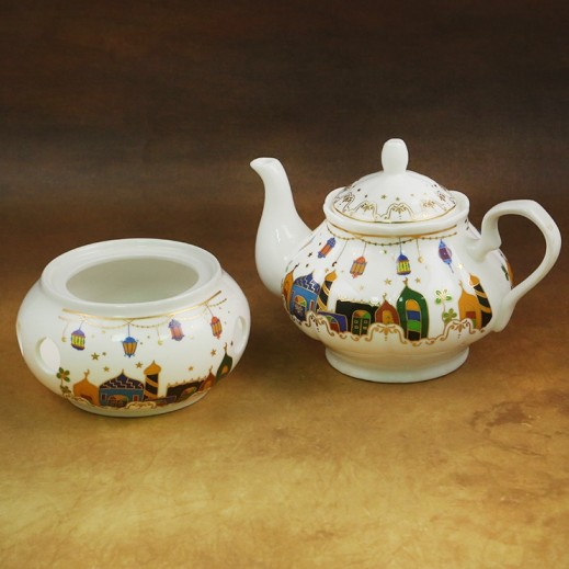 Ceramic Tea Pot with Burner Set - 2 Pieces