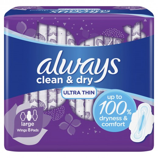ALWAYS Clean & Dry Ultra Thin Large Sanitary Pads with Wings - 8 Pads