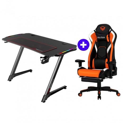 Gamax Z Shaped Gaming Desk + Meetion CHR22 Gaming Chair - Black & Orange