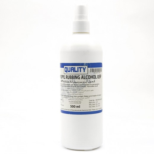 Quality Isopropyl Rubbing Alcohol Usp For Skin Cleaning And Disinfection of Hands and Surfaces 500 ml