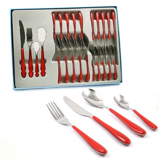 Stainless Steel Cutlery Set 24 Pieces - Red