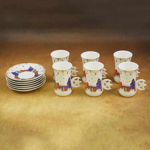 Ceramic Tea Cups With Saucers Hilal - 12 Pieces