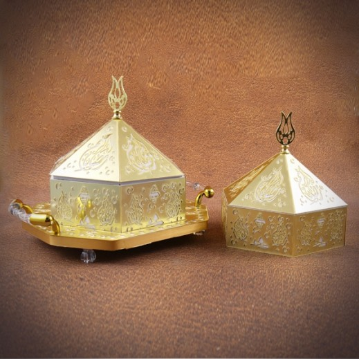 Golden Decorative Tray with Lids