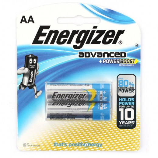 Energizer Advanced Alkaline AA Battery 2 Pack
