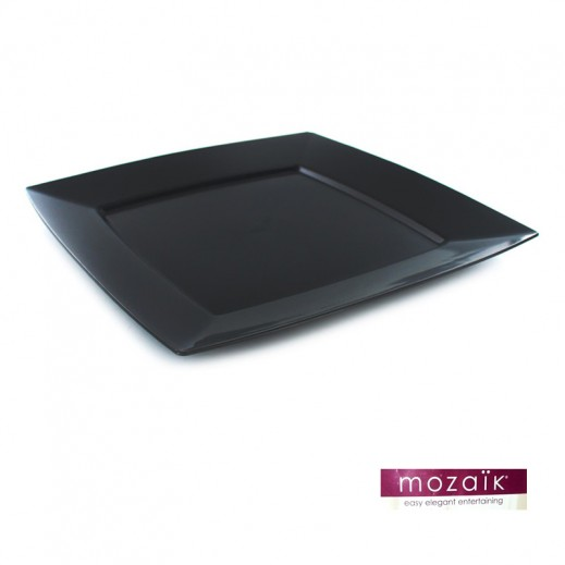 "Mozaik Black Square Plates 9.5"" (12 pieces)"