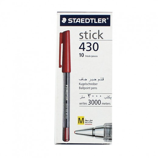 Staedtler Stick 430 Ballpoint Pen 10 pieces - Red