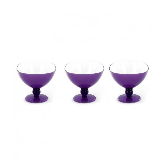Wellini Bicolor Ice Cream Cup 3 pieces Set Violet