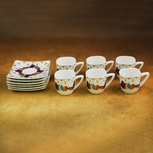 Ceramic Cawa Cups With Saucers - 12 Pieces