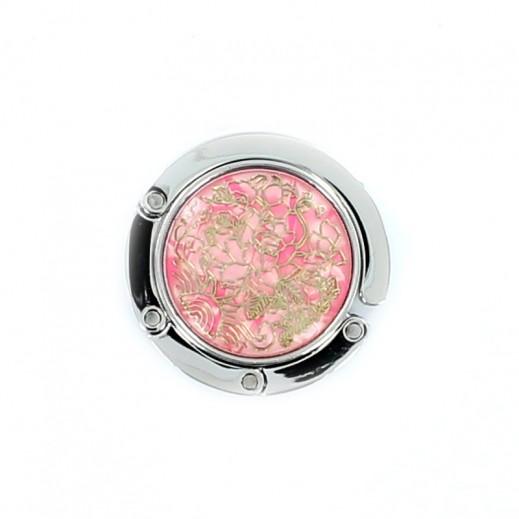 Steel Lock -Pink with Golder Flower