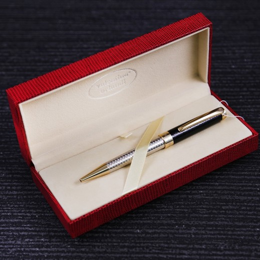 Valentino Orlandi Silver & Black Down Pen - delivered by My Fair Lady Within 2 Working days