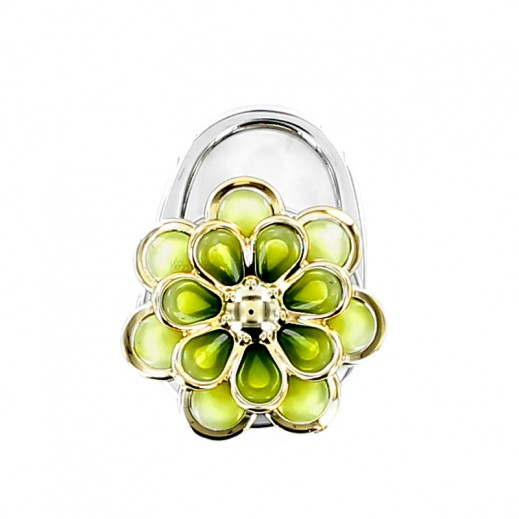 Stainless Steel Lock with Golden Flower
