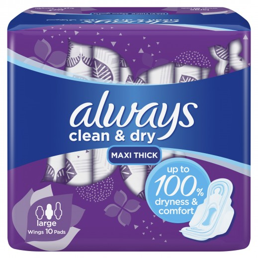 Always Clean & Dry Maxi Thick Large Sanitary Pads with Wings - 10 Pads