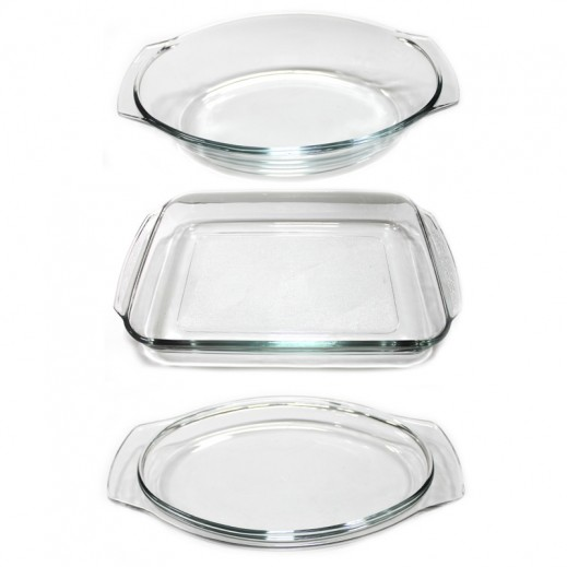 Pyrorey Oval Cassarole with Lid & Rectangular Dish Bundle Promotion