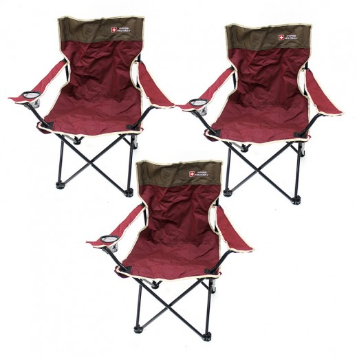 Swiss Military Camp Chair Set 3 Pieces Red