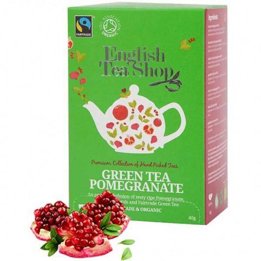 English Tea Shop Green Tea with Pomegranate Organic Tea 20 Sachets (40g)