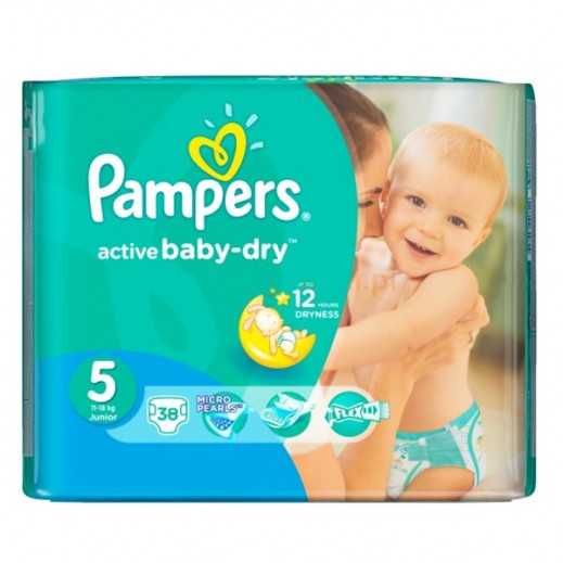 Pampers Active Baby Dry Diapers, Size 5, Junior, 11-18 kg, 38 Pieces