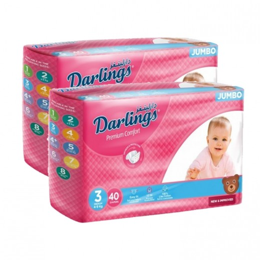 Darlings Medium Stage 3 (4-9 Kg) 2 x 40 Pieces Prom