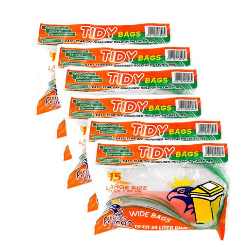 Value Pack - Falcon Tidy Bags Large Orange 15s (6 pieces)