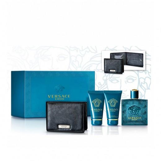 Versace Eros For Him Set 100Ml+AS/Blm 50ml+S/G 50ml+Black Wallet