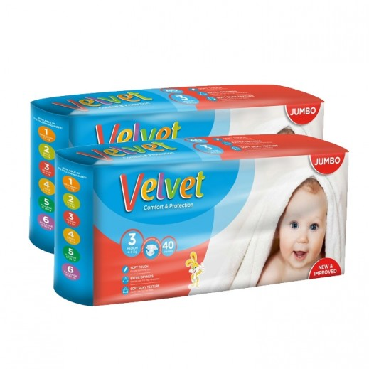 Velvet Medium Stage 3 (4-9 kg) 2 x 40 Pieces