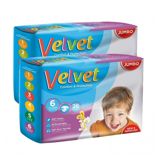 Velvet XXlarge Stage 6 (18-30 kg) 2 x 26 Pieces