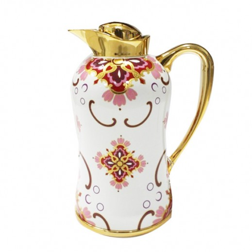Mydot Deluxe Flask 1.3 Ltr White Red Flowers