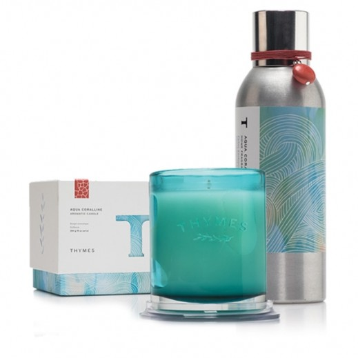 Thymes Aqua Coralline Home Set (Home Fragrance Mist + Candle)