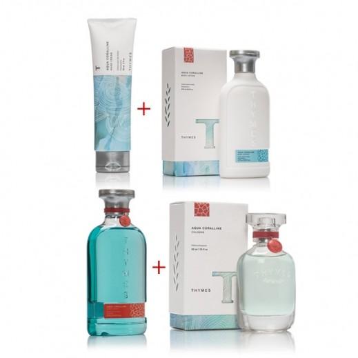 Thymes Aqua Coralline Bath & Body Set 1 (Hand Cream + Body Wash + Body Lotion + Cologne