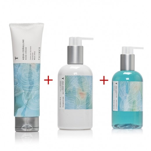 Thymes Aqua Coralline Hand Care Set (Hand Cream + Hand Lotion +Hand Wash)