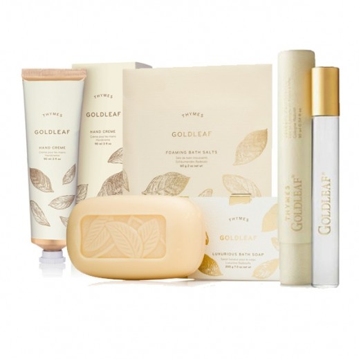Thymes Goldleaf Limited Edition Bath & Body Set 1 (Roller Ball Cologne + Bar Soap + Bath Salts + Hand Cream