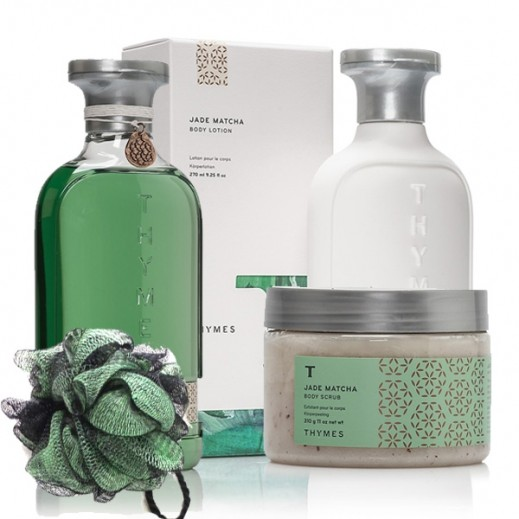 Thymes Jade Matcha Bath & Body Set (Body Wash + Body Lotion + Body Scrub + Loofah