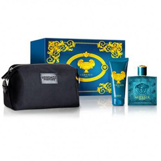 Versace Gift Set For Men (Eros EDT 100ml + Shower Gel 100ml + Versace Black Bag)