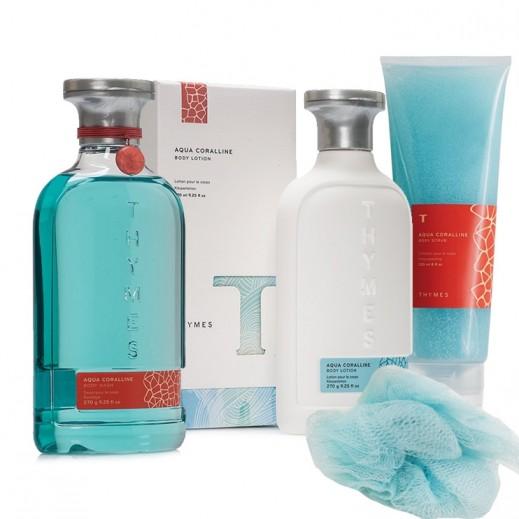 Thymes Aqua Coralline Bath & Body Set 2 (Body Wash + Body Lotion + Body Scrub + Loofah
