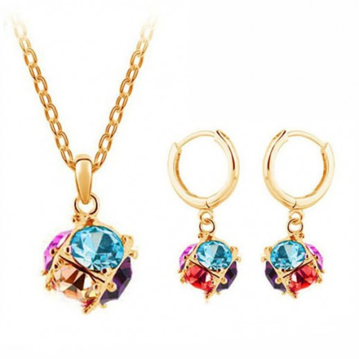 Helen 18K Gold Plated Cubic Ball Charm Drop Earrings Austrian Crystal Jewelry Set M00071