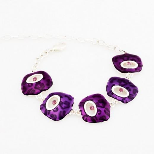 Nixon Silver Plated Nickle Free Alloy Enamel Purple Bracelet, M00402