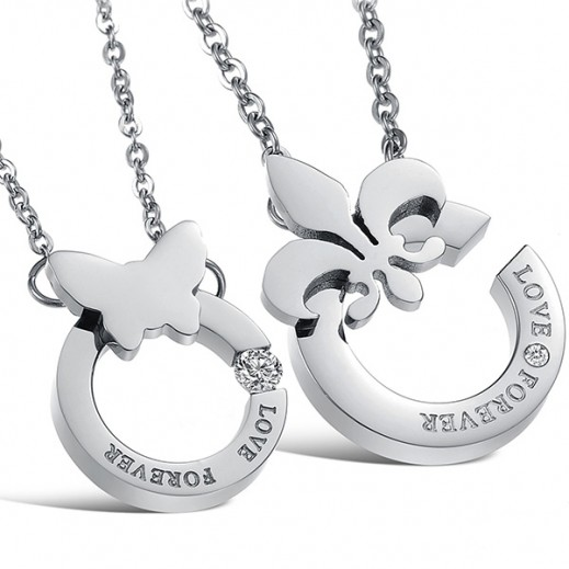 Lousio Lovers Gift Stainless Steel Couple Necklaces (V) (M00444)