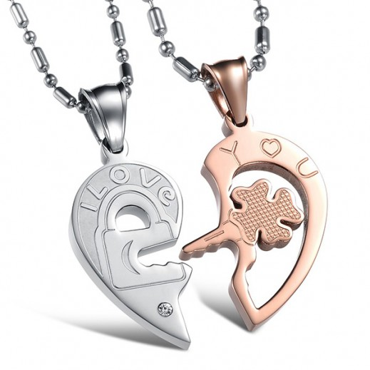 Lousio Lovers Gift Stainless Steel Couple Necklaces (V) (M00447)