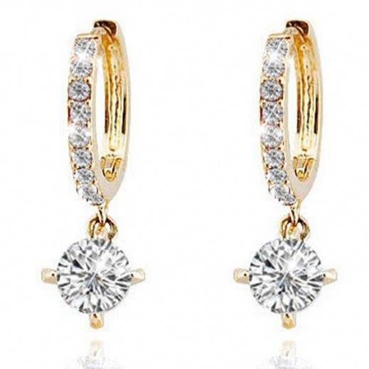 Nixon 18K Gold Plated Zircon Rhinestones Austrian Crystal Gold Earrings, M00626