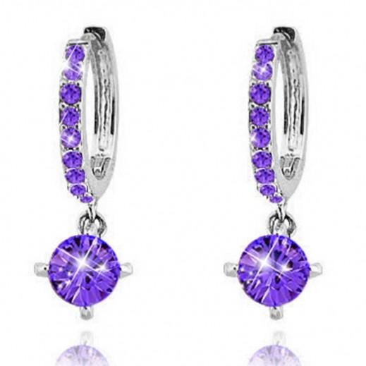 Nixon 18K Gold Plated Zircon Rhinestones Austrian Crystal Purple Earrings, M00628