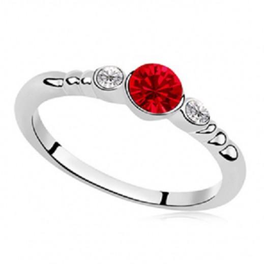 Helen Rhodium Plated Red Swarovski Elements Ring, M00696