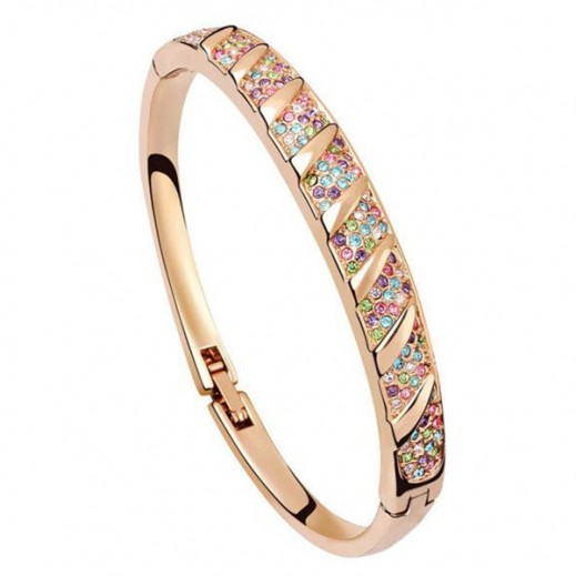 Nixon 18k Gold Plated Full Rhinestone Multi-Color Bracelet, M00703