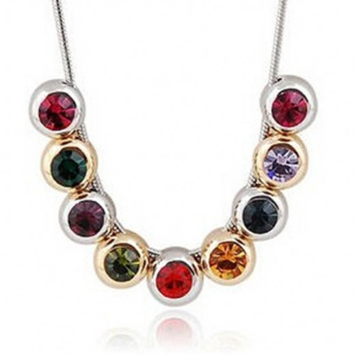 Nixon 18K White Gold Plated Inlaid Colorful Rhinestone Crystal Necklace, M00724